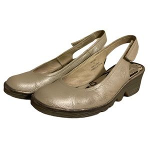 Fly London Gold Leather Wedges - Women's Size 36